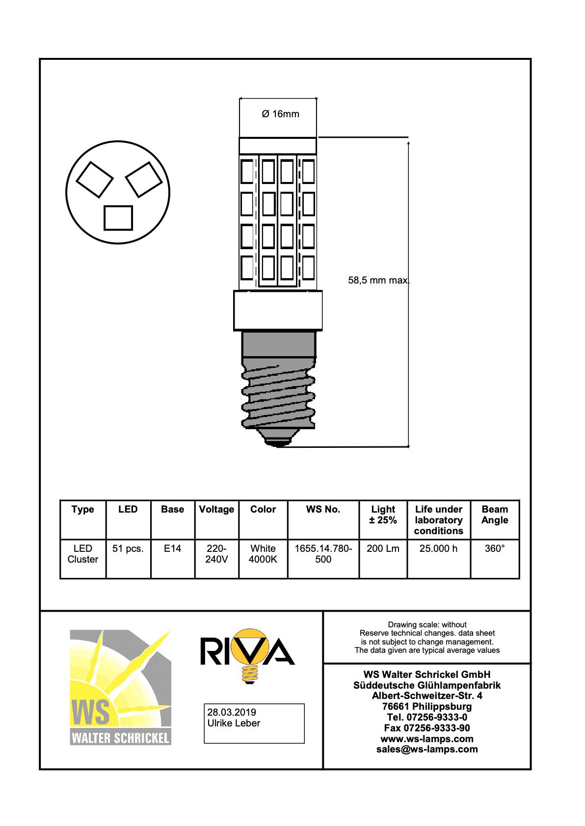 Riva LED E14 Lampe 220-260Volt 2,5Watt//4000K